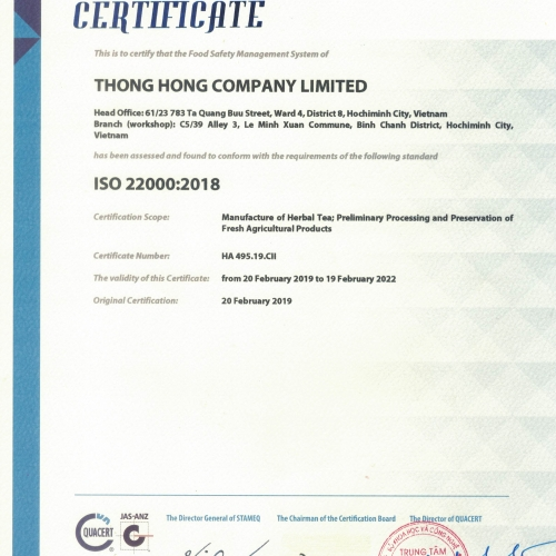 CERTIFICATE  ISSO 22000: 2018